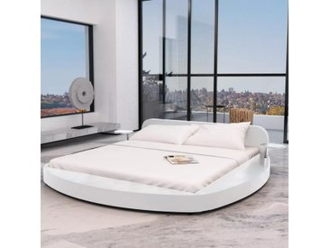 Cadre de lit rond 180 x 200 cm Cuir artificiel Blanc  - vidaXL