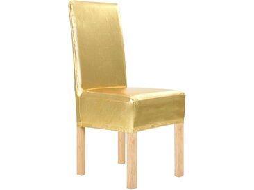 Housses extensibles de chaise droite 6 pcs Doré - vidaXL