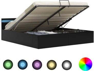 Cadre de lit à rangement avec LED Noir Similicuir 180x200 cm  - vidaXL