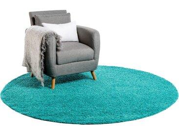 Tapis shaggy à poils longs Swirls Turquoise ø 200 cm rond - Tapis doux pour salon