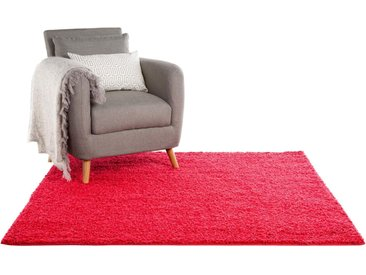 Tapis shaggy à poils longs Swirls Rouge 60x60 cm - Tapis descente de lit