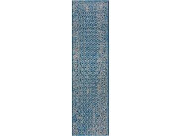 Tapis Vintage de couloir Antique Bleu 80x300 cm - Tapis poil ras / effet usé