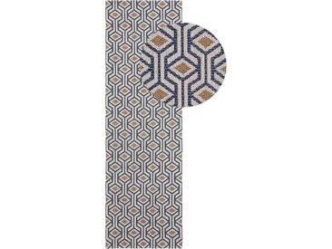 Tapis poil ras de couloir Cooper Bleu/Jaune 75x240 cm - Tapis poil court design moderne pour salon
