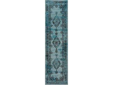 Tapis Vintage de couloir Antique Turquoise 80x200 cm - Tapis poil ras / effet usé