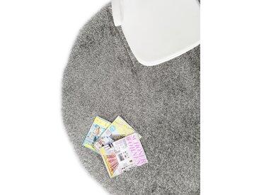 Tapis shaggy à poils longs Sophie Gris ø 160 cm rond - Tapis doux pour salon