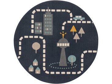 Tapis enfant Juno Bleu ø 120 cm rond - Tapis pour chambre d'enfants/bébé