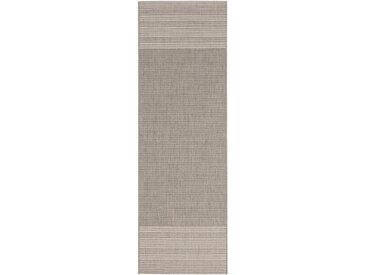 Tapis poil ras de couloir extérieur & intérieur Metro Gris clair 80x240 cm - Tapis poil court design moderne pour salon