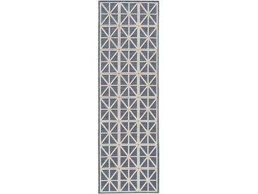 Tapis poil ras de couloir North Beige/Bleu 67x210 cm - Tapis poil court design moderne pour salon