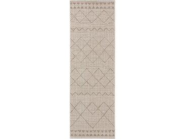 Tapis poil ras de couloir extérieur & intérieur Metro Crème/Beige 80x240 cm - Tapis poil court design moderne pour salon