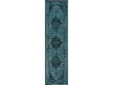 Tapis Vintage de couloir Antique Turquoise 80x300 cm - Tapis poil ras / effet usé