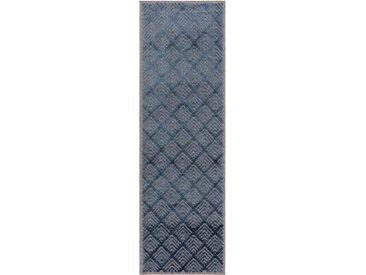 Tapis poil ras de couloir North Bleu foncé 67x210 cm - Tapis poil court design moderne pour salon