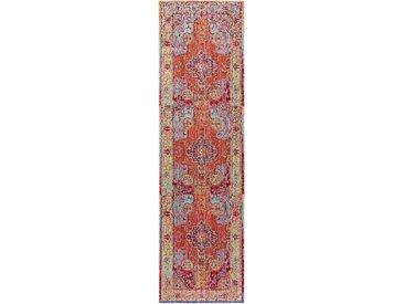Tapis Vintage de couloir Visconti Multicouleur/Orange 70x240 cm - Tapis poil ras / effet usé