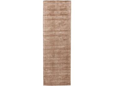Tapis poil ras de couloir Nela Taupe 80x250 cm - Tapis poil court design moderne pour salon