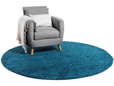 Tapis shaggy à poils longs Swirls Bleu ø 120 cm rond - Tapis doux pour salon