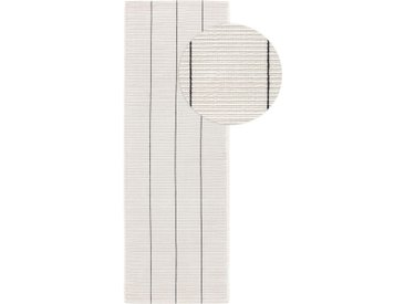 Tapis poil ras de couloir extérieur & intérieur Gaia Blanc 80x250 cm - Tapis poil court design moderne pour salon
