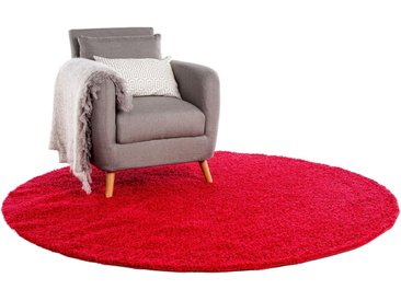 Tapis shaggy à poils longs Swirls Rouge ø 200 cm rond - Tapis doux pour salon