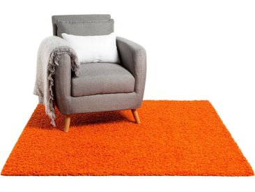 Tapis shaggy à poils longs Swirls Orange 200x200 cm - Tapis doux pour salon