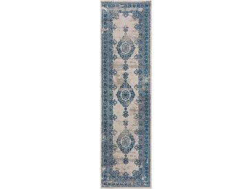 Tapis Vintage de couloir Antique Beige/Bleu 80x200 cm - Tapis poil ras / effet usé