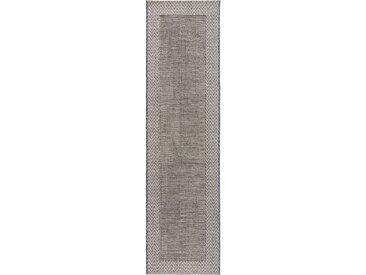 Tapis poil ras de couloir extérieur & intérieur River Beige/Bleu 67x240 cm - Tapis poil court design moderne pour salon