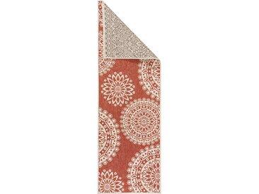 Tapis poil ras de couloir double face Terrazzo Beige/Rouge 80x240 cm - Tapis poil court design moderne pour salon