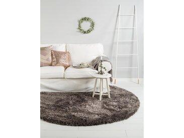 Tapis shaggy à poils longs Lea Anthracite ø 120 cm rond - Tapis doux pour salon