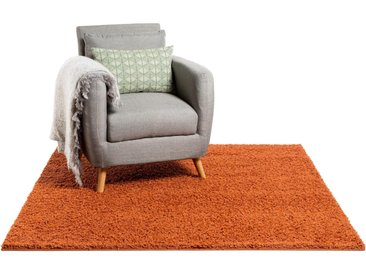 Tapis shaggy à poils longs Swirls Rouge/Orange 60x60 cm - Tapis descente de lit