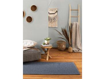 Tapis poil ras de couloir Cooper Bleu 75x240 cm - Tapis poil court design moderne pour salon