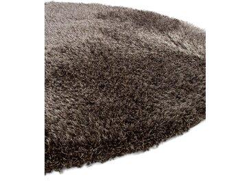 Tapis shaggy à poils longs Sophie Marron ø 160 cm rond - Tapis doux pour salon