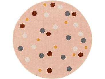 Tapis enfant Juno Multicouleur/Fuchsia ø 120 cm rond - Tapis pour chambre d'enfants/bébé