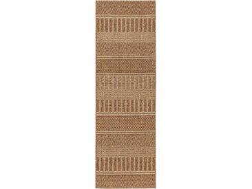 Tapis poil ras de couloir extérieur & intérieur Naoto Marron 80x240 cm - Tapis poil court design moderne pour salon