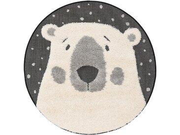 Lytte Tapis enfant Carlo Noir & Blanc ø 120 cm rond - Tapis pour chambre d'enfants/bébé