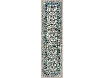 Tapis Vintage de couloir Antique Beige/Turquoise 80x200 cm - Tapis poil ras / effet usé