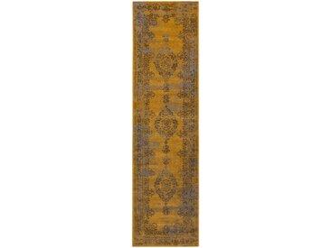 Tapis Vintage de couloir Antique Jaune 80x300 cm - Tapis poil ras / effet usé