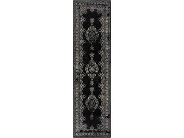 Tapis Vintage de couloir Antique Noir & Blanc 80x300 cm - Tapis poil ras / effet usé