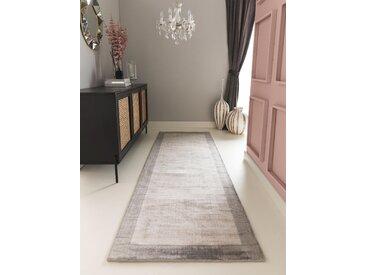 Tapis poil ras de couloir Nova Border Gris clair 80x250 cm - Tapis poil court design moderne pour salon
