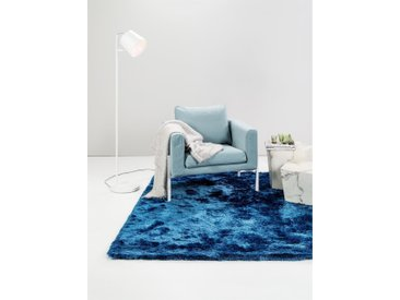 Tapis shaggy à poils longs Whisper Bleu 60x60 cm - Tapis descente de lit