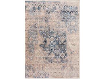Tapis Vintage Safira Beige/Bleu 100x156 cm - Tapis poil ras / effet usé