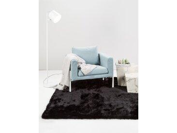 Tapis shaggy à poils longs Whisper Noir 60x60 cm - Tapis descente de lit