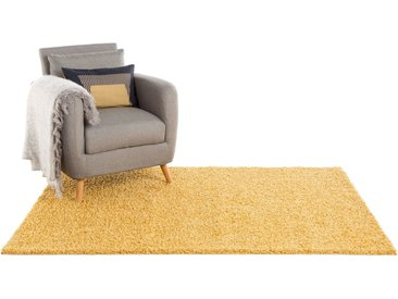 Tapis shaggy à poils longs Swirls Jaune 80x150 cm - Tapis doux pour salon