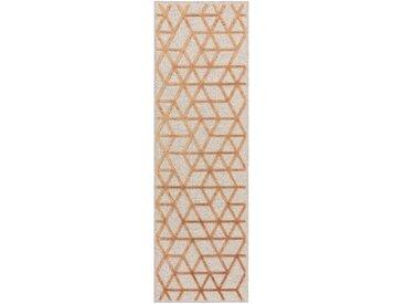 Tapis poil ras de couloir North Cuivre 67x210 cm - Tapis poil court design moderne pour salon