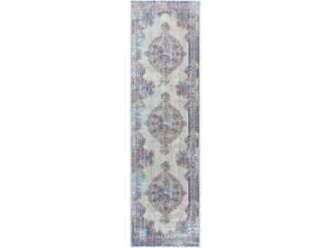 Tapis Vintage de couloir Visconti Bleu clair 70x240 cm - Tapis poil ras / effet usé