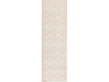 Tapis poil ras de couloir Woody Crème 67x210 cm - Tapis poil court design moderne pour salon