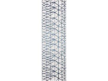 Tapis poil ras de couloir extérieur & intérieur Vora Beige/Bleu 80x150 cm - Tapis poil court design moderne pour salon