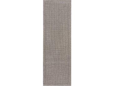 Tapis poil ras de couloir extérieur & intérieur Naoto Gris clair 80x240 cm - Tapis poil court design moderne pour salon