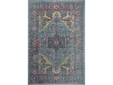 Tapis Vintage tisséàplat Ayla Multicouleur/Turquoise 120x170 cm - Tapis poil ras / effet usé