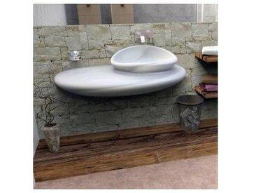 Viadurini Design Lavabo suspendu de design moderne fait en Italie Stone