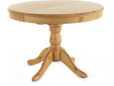 Table Ronde En Pin 110 Cm Avec Rallonge 40 Cm Poisy - Grenier Alpin