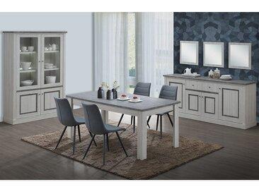 Salle à manger complète couleur chêne clair et gris EMMETT