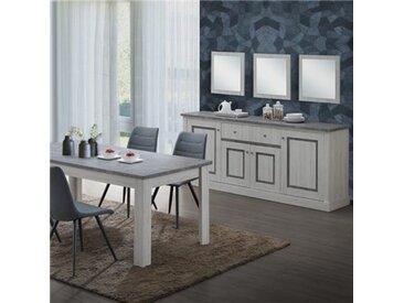 Salle à manger couleur chêne clair et gris EMMETT-L 170 x P 90 x H 76 cm- Gris