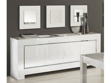 Buffet bahut blanc laqué bandes chromées design FLAVIE 3